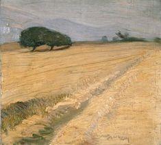 Nikolaos Lytras, Field with Haystacks, Expressionism Landscape Paintings, Watercolor Paintings, Landscapes, Greek Paintings, Greek Art, Art Database, Autumn Art, Fantastic Art, Love Painting