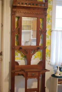Antique Oak Entry Hall Tree Incorporate Mirror Amp Facade