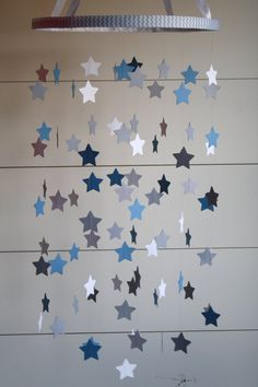 Baby Crib Mobile  Star Mobile in Blue and Gray by BabyJayDecor, $55.00