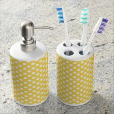 Yellow and White Polka Dot Bathroom Sink Set - bathroom idea ideas home & living diy cyo bath #sinksets