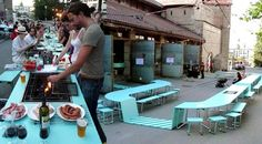 Bernedetta Maxia and António Louro of Lisbon-based art and architecture collective MOOV came up with Kitchain. Originally designed and built for the Belluard Bollwerk International festival, Kitchain is a smart piece of modular furniture that responds to the emerging social dining trend.