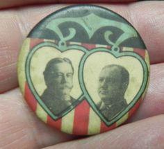 Taft 1908 celluloid Taft  Sherman in hearts/colorful #33 1908 election jugate