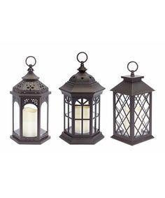 Brown LED Lantern Set | zulily