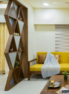 Sustenance, Elegant And Efficient 3BHK Apartment Design | Inklets Studio - The Architects Diary Wooden Partition Design, Living Room Partition Design, Living Room Divider, Room Partition Designs, Living Room Tv Unit Designs, Ceiling Design Living Room, Room Door Design, Home Room Design, Partition Ideas