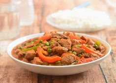 Pork Guisantes is a hearty stew with pork, green peas, and bell peppers cooked in a tomato sauce. Hearty and delicious, it's best served with steamed rice. Filipino Dishes, Filipino Food, Filipino Recipes, Pork Strips, Pork Stew, Marinated Pork, Asian Recipes, Ethnic Recipes, Home Food