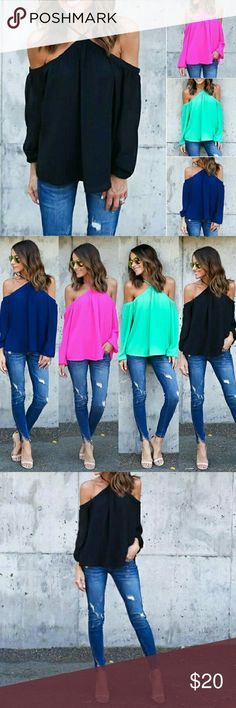 COMING SOON!! Off-the-Shoulder Long Sleeve Top Available in black. If anyone is interested in another size or color, please let me know, and I will be happy to order you what you want. :) A perfect top great for any season!! Tops