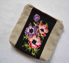 Shabby chic natural linen and needlepoint by FrenchDecoChic