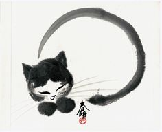 Cat and Japanese calligraphy. Such a beautiful and playful ink painting!