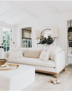 White minimal living room mid century modern decor