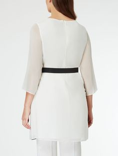 Two-tone silk georgette tunic