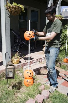 When we first saw his bucket full of plastic pumpkins, we weren't expecting THIS!