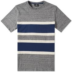 A bold colourblock design updates a classic striped tee for Paul Smith's latest collection, created through a series of horizontal panels. A soft grey marl jersey is teamed with navy blue and a neutral beige, allowing the tee to work back with a plethora of outfits.  100% Cotton Horizontal Panels Ribbed Crew Neck Woven Tag To Side