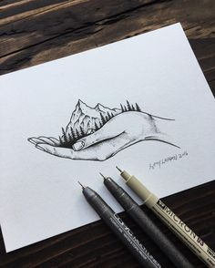 "steelbison: "" Drawing from earlier today. #illustration #mountains #art "" www.seedpeoplesmarket.com"