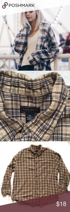 Oversized Tan Brown Plaid Flannel 🌿HP🌿  This cozy oversized flannel is perfect for fall and layering! It is super soft with warm tan and brown colors running throughout. It is in excellent used condition with minor wear. Please ask questions if you have any!  🌿 Open to offers 🌿 No trades 🌿 Smoke & pet free home Saddlebred Tops Button Down Shirts