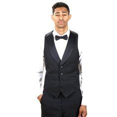 Men's Black Full Back Tuxedo Vest with Black Lapel