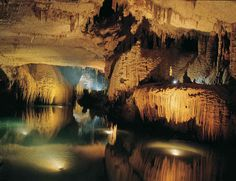 Jeita Grotto, Nahr al-Kalb Valley, Lebanon. Eighteen kilometers northeast of Beirut, these underground limestone caves were inhabited in prehistoric times and continue to attract human visitors with their vivid colors and stalactite formations. The biggest stalactite in the world is here. The caves consist of a network of chambers -- with an upper and a lower gallery -- stretching out for nine kilometers and accessible by an underground river.