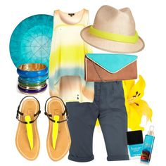 Yellow and Blue, created by wiferichie on Polyvore
