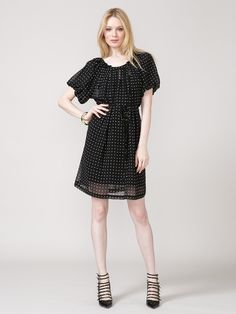 Pleated Chiffon Polka Dot Dress by Alex + Alex on Gilt
