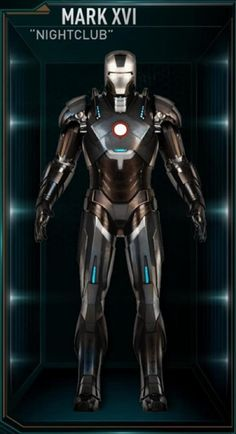 "The Mark 16 (Mark XVI), also known by its name as ""Nightclub"", is a Black Stealth Suit, and was one of several new Iron Man Armors created by Tony Stark. Marvel Comics, Hq Marvel, Marvel Heroes, Marvel Jokes, Iron Men, Man Movies, Comic Movies, All Iron Man Suits, Logo Branding"