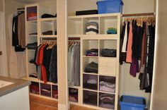expedit closet... Ugly but some good ideas