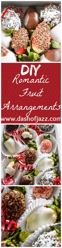 DIY Romantic Fruit Arrangements | Dash of Jazz | An Easy Valentine's Day Gift made up of homemade chocolate covered strawberries