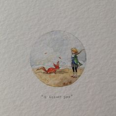 """Day 224 : """"You become responsible, forever, for what you have tamed."""" - The Little Prince and the Fox, by special request for the very first person that booked a date in the #365paintingsforants series. Thank you Elaine! 26 x 26 mm. #miniature #watercolor #thelittleprince #fox (at Vredehoek)"""