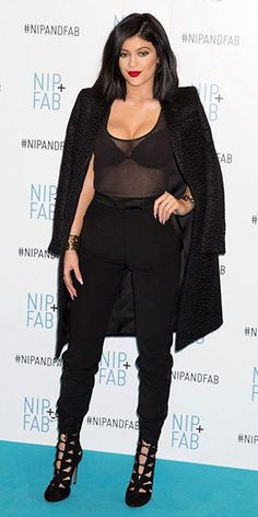 Kylie Jenner at the Nip+Fab photo call in London, England (March 14, 2015), wearing a Francesco Scognamiglio coat. #kyliejenner #style
