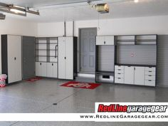 White Garage Cabinets to keep the garage organized designed and installed by http://www.garageoutfittersneo.com/