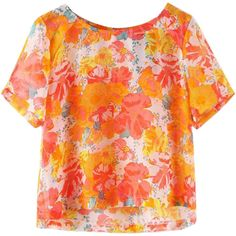 7afed0c4172 Red Ladies Floral Printed Chiffon Blouses ( 17) ❤ liked on Polyvore  featuring tops