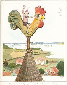Ottilia Adelborg - Kyrktuppen from the book of Zacharias Topelius - Läsning för barn Modern Artists, Elves, The Book, Illustrators, Books, Fun, Painting, Ideas, Diary Book