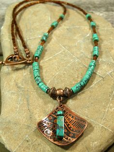 Turquoise Necklace - Beaded Necklace - Womens Necklace - Southwest Jewelry - Etched Copper -  Tribal Necklace - Pendant Necklace