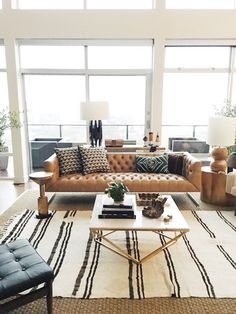 modern meets traditional living room design with leather tufted sofa and modern coffee table decor, neutral living room design with leather sofa, Studio McGee Home Living Room, Apartment Living, Living Room Designs, Living Room Furniture, Living Spaces, Apartment Interior, Room Interior, Apartment Goals, Cozy Apartment