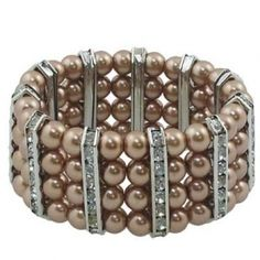 """Brown faux Glass Pearl Rhinestone Stretch Bracelet Beautiful Simulated 4 rows of Brown Pearls with clear Rhinestone bar spacers  Measures 1.5"""" in width"""