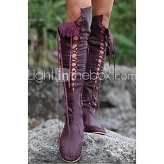 Women's Shoes Leather Flat Heel Fashion Boots Boots Office & Career / Dress / Casual Brown / Pink / Purple / Orange - USD $ 89.99