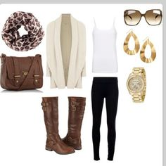 Cool fashion with coat,purse,glasses,earings,watch,                           t-shirt,tight,and boots