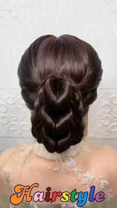 Bride Hairstyles For Long Hair, Pretty Braided Hairstyles, Hairdo For Long Hair, Long Hair Video, Bun Hairstyles For Long Hair, Step By Step Hairstyles, Braided Hairstyles Tutorials, Quick Hairstyles, Hairstyle Braid