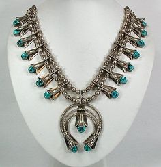 Louise Yazzie Vintage Navajo Sterling Silver Turquoise Squash Blossom Necklace