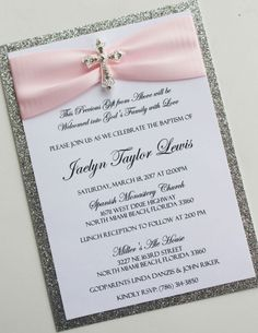 Pink and Silver Baptism-Communion Invitation by atouchofsunshine4