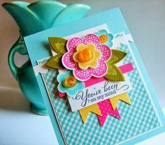 Lynn Put via her blog The Queen's Scene using the Papertrey Ink stamp set Friendly Flowers.