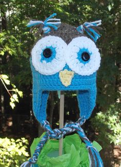 Owl Ear Flap Hat ... Blue and Brown  White  by sweetpeacollections, $20.00