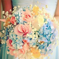 AWESOME Bride's Pastel Bouquet! Features Blue Hydrangea, Beautiful White Baby's Breath, & Roses In Pink, Yellow, & White>>>>