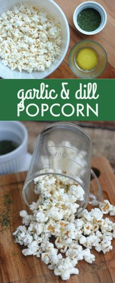 This garlic and dill popcorn recipe is fabulous. Super easy to make and oh-so-delicious! Pick your favorite popcorn or pop your own.use vegan butter. Gourmet Popcorn, Popcorn Snacks, Flavored Popcorn, Popcorn Bar, Yummy Snacks, Healthy Snacks, Yummy Food, Healthy Recipes, Savory Snacks