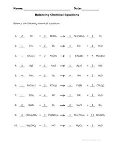 Balancing Chemical Equations - Mr. Durdel'-s Chemistry | 8th grade ...