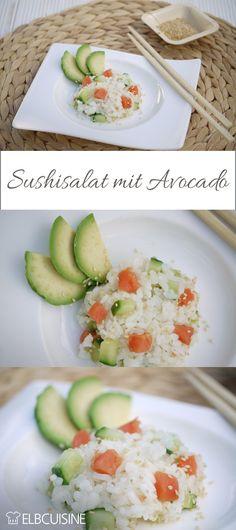 Zarter himmlischer Sushi-Salat schmeckt immer und geht viel schneller als Sushi zu rollen! #sushi #salat #lecker Form, Risotto, Avocado, Dressing, Breakfast, Ethnic Recipes, Sushi Food, Make Sushi, Salad Ideas