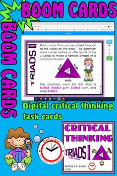 Find the word that links the 3 words on the triad. Great critical thinking. Excellent vocabulary building. Perfect problem solving. Upper elementary and middle school. Boom Cards are just what you need for distance learning. #BoomCards #criticalthinking #wordrelationships #digitaltaskcards #distancelearning