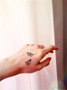 2pcs Small paper boat airplane - InknArt Temporary Tattoo - quote tattoo wrist sticker fake tattoo tiny bird love