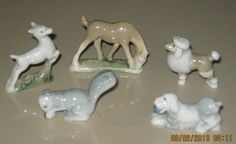 Wade 1st Whimsies Full Set 1: Leaping Fawn, Horse, Squirrel, Spaniel, Poodle; 50.00 on eBay, 2/17/13