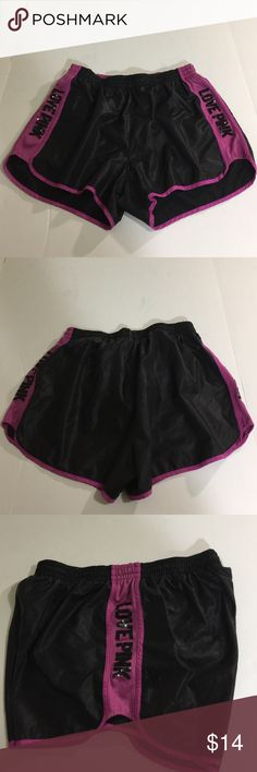 """VS Pink Running Shorts, size M VS Pink Running Shorts in size medium. Colors are a shiny black and purple color. Features """"Love Pink"""" on both of the sides with black sequins, lined with a black panty under layer, and Tie elasticized waist band. Made from 100% polyester. PINK Victoria's Secret Shorts"""
