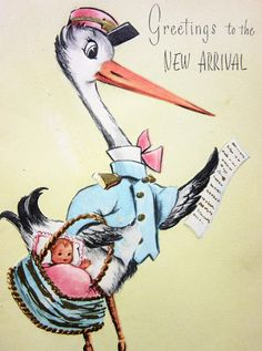 Greetings to the New Arrival is an original unused mid-century greeting card and not a reproduction. The front features a tall stork carrying a basket with a newborn snuggled in it, and his list of deliveries. The little baby excitedly reaches out from the basket as it awaits the new