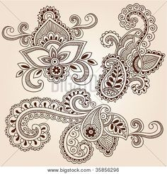 Paisley Flower Tattoo   Henna Paisley Flowers Mehndi Tattoo Doodles Abstract Floral Vector ...